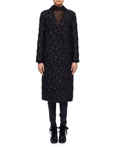 Brocade Snap-Front Long Coat, Black