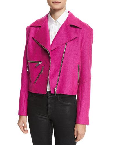 Rodney Felted Biker Jacket, Pink