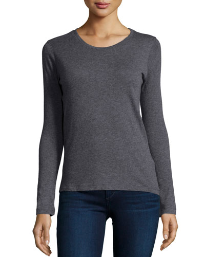 Cashmere Long-Sleeve Crewneck Top