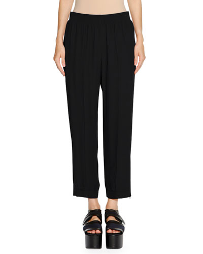 Pleat-Front Cropped Pants, Black