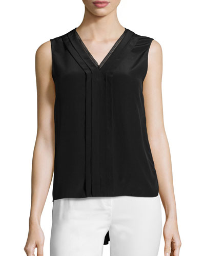 Emi Sleeveless V-Neck Silk Blouse