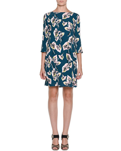 Floral-Print 3/4-Sleeve Dress, Green
