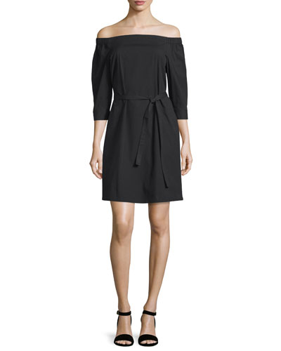 Zizinna Off-the-Shoulder Poplin Dress, Black