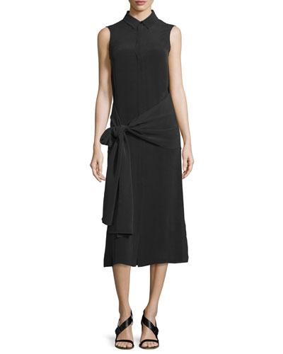 Alto Sleeveless Silk Tie-Waist Shirtdress, Cream