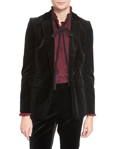 Velvet Mod Blazer, Black