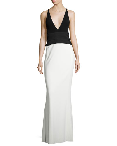 Crepe Jersey Sleeveless Peplum Gown, Black/White