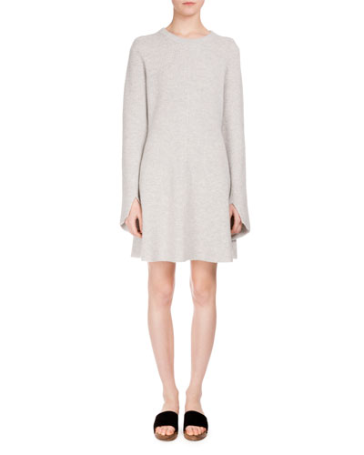 Long-Sleeve Wool-Blend Sweaterdress, Light Gray