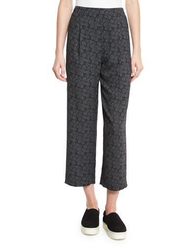 Tie-Print Pull-On Pants