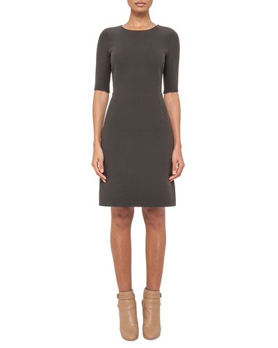 Half-Sleeve Round-Neck Sheath Dress, Turtle