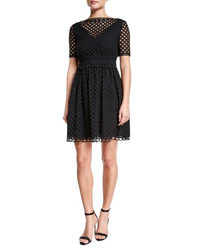 Short-Sleeve Eyelet A-Line Dress, Black