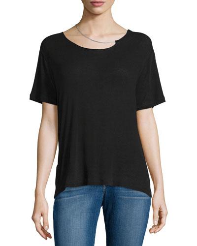 Rikke Short-Sleeve Jersey Top w/ Chain