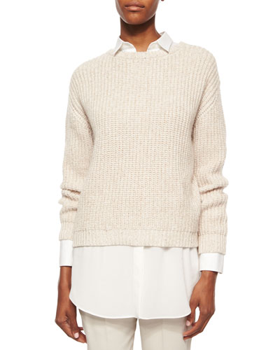 English Rib Knit Paillette Sweater