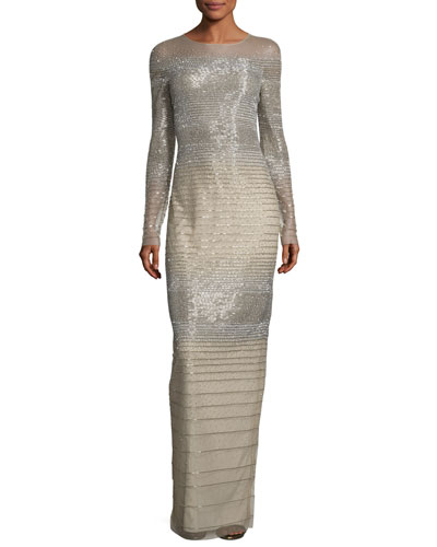 Striped Degrade Illusion Gown, Silver