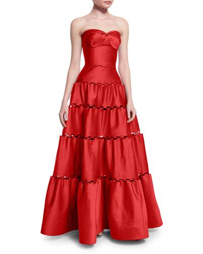 Strapless Tiered Satin Gown