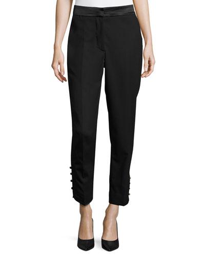 Straight-Leg Satin-Band Tuxedo Pants, Black