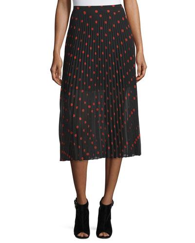 Pleated Polka-Dot Midi Skirt, Red/Black