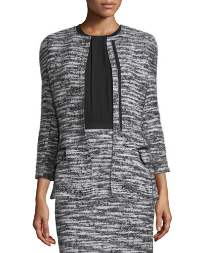 Bracelet-Sleeve Boucle Tweed Jacket, Black/White