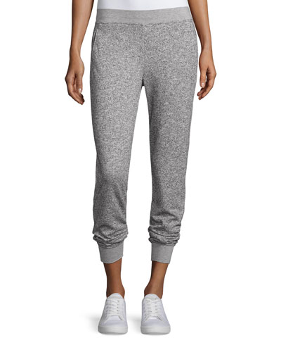 Straight-Leg Sparkle Sweatpants, Gray