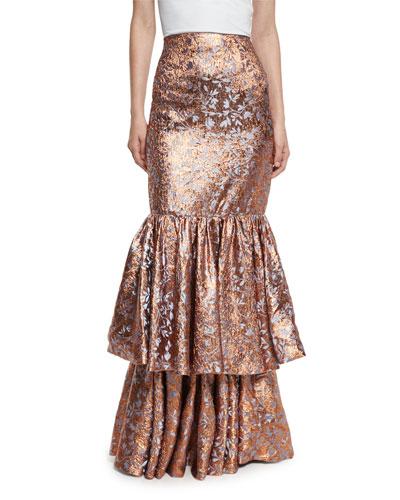 d'Artagnan Tiered Jacquard Maxi Skirt, Rose Gold/Blue
