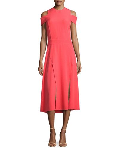 Short-Sleeve Cold-Shoulder Midi Dress w/ Double-Slit Hem, Red