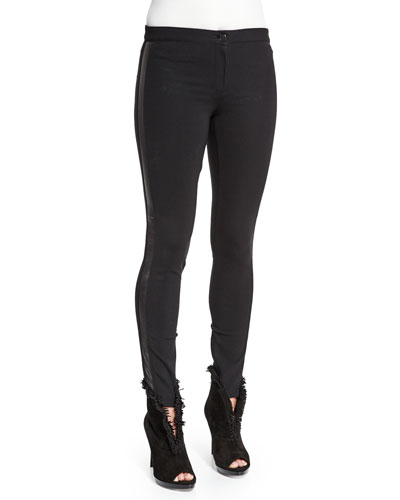 Low-Rise Leggings W/Racing Stripe, Black