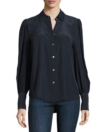 Feminine Silk Blouse, Navy