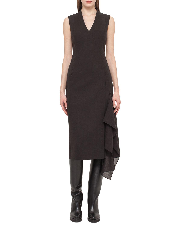 Sleeveless Faux-Wrap Dress, Dark Brown