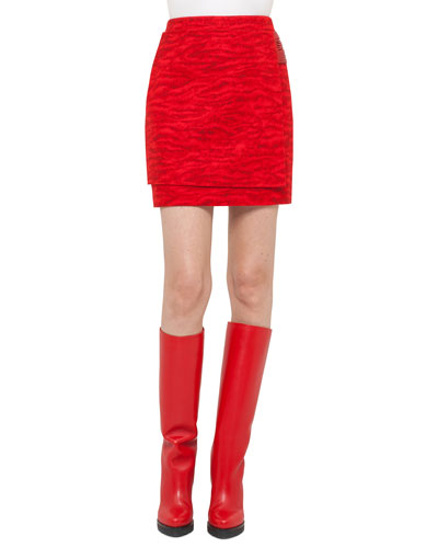 Tiger-Stripe Wrap Skirt, Red