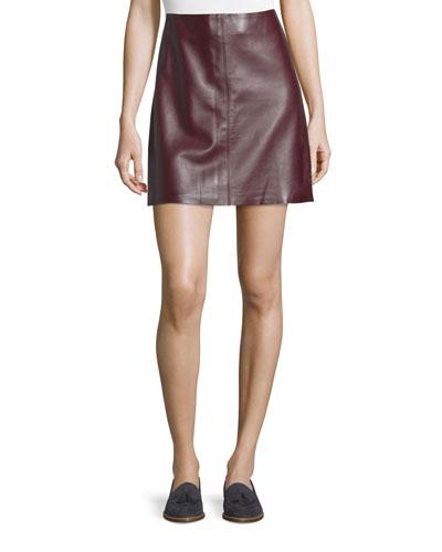 Irenah Wilmore Leather Miniskirt, Garnet