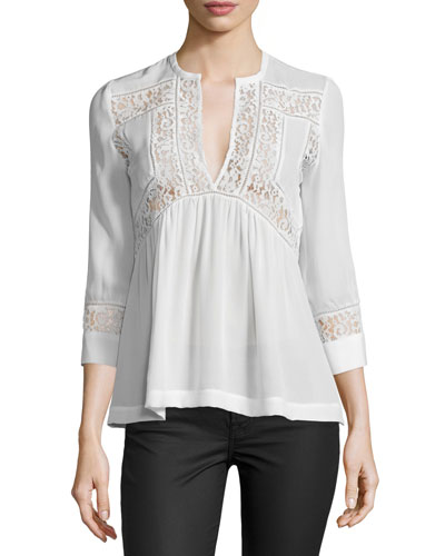 3/4-Sleeve Silk & Lace Top