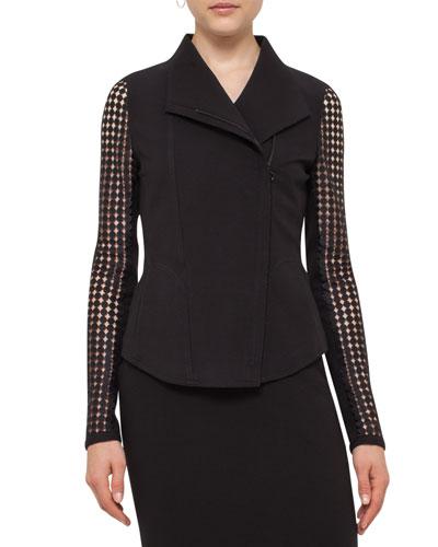 Punto Lace-Sleeve Zip-Front Jacket, Black