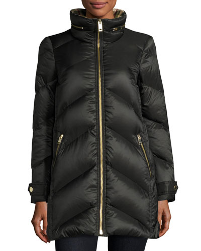 Chevron Quilted Down Puffer Coat