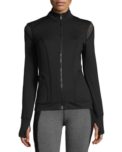 Illusion Performance Jacket with Mesh Trim, Black