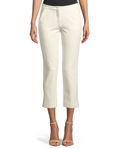Drake Straight-Leg Cropped Trousers, Ivory