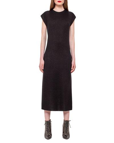 Knit Side-Zip Tunic Dress, Black/White