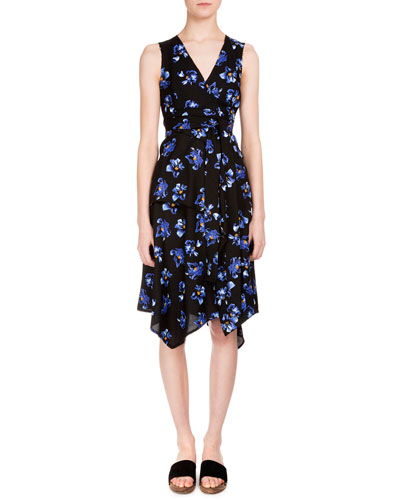 Floral-Print Handkerchief-Hem Wrap Dress, Black/Cobalt Flower