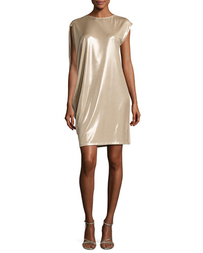 Asymmetric-Sleeve Metallic Jersey Dress, Champagne