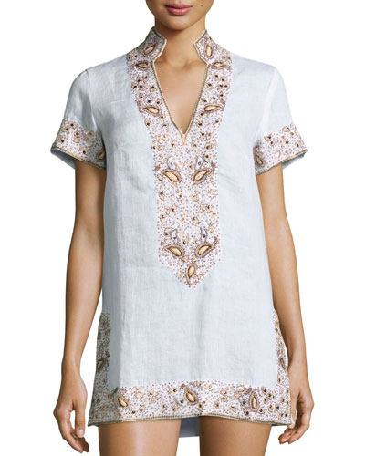 Flora Bella Viceroy Beaded Linen Short Coverup Tunic,