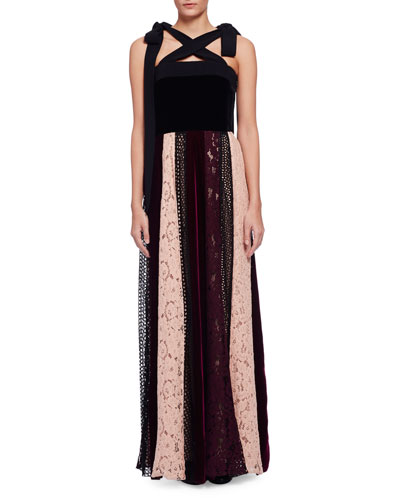 Sleeveless Velvet Combo Gown w/Paneled Lace Skirt, Black/Multi