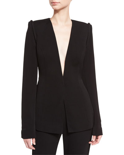 Piped-Shoulder V-Neck Jacket