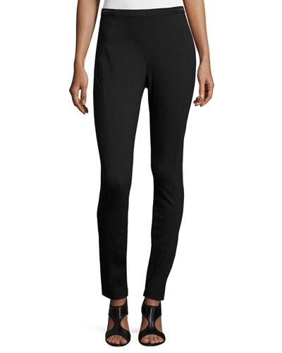 Melinda Double-Knit Skinny Pants, Black
