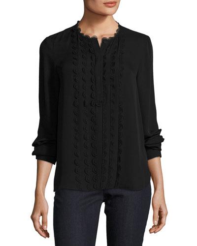 Antonella Scalloped-Trim Silk Blouse, Black