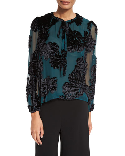 Tie-Neck Cut-Velvet Blouse, Teal