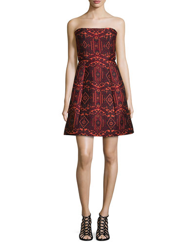 Nikki Strapless Tribal-Print Dress, Red/Orange