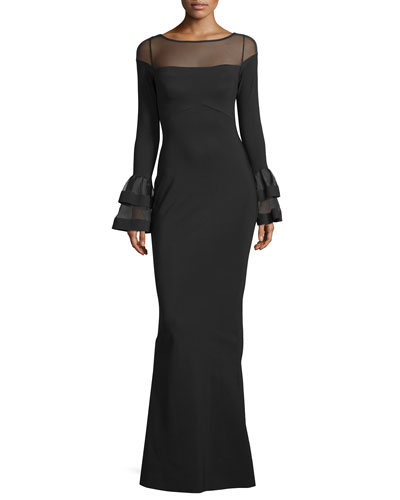 Long-Sleeve Ponte Illusion Gown, Navy