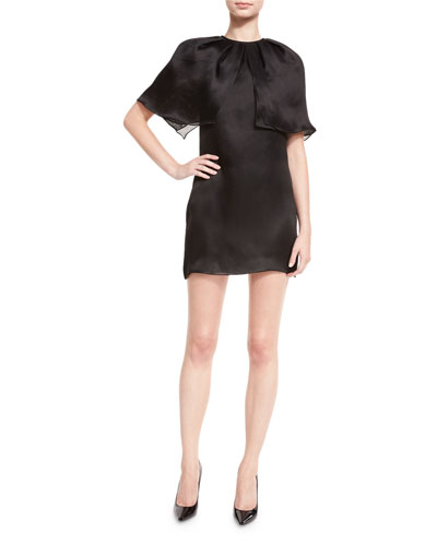 Silk Organza Capelet Mini Dress, Black