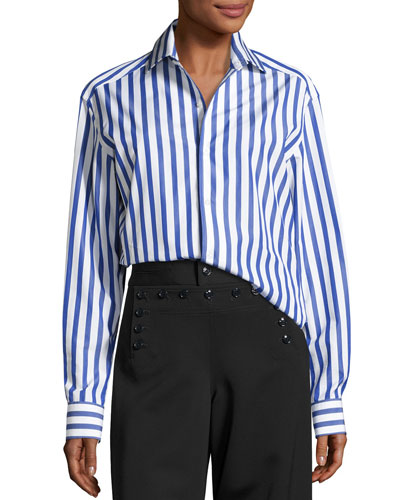 Capri Striped Cotton Blouse, White