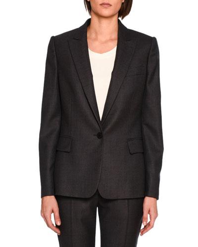 Ingrid Single-Breasted Jacket, Charcoal