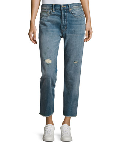 Union Distressed Slouchy Jeans, Blue