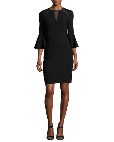 Garcia Bell-Sleeve Sheath Dress w/ Mesh Inserts, Black